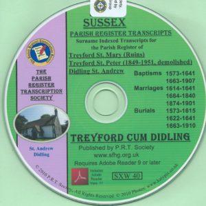 Treyford Cum Didling, Sussex, Parish Records 1573 – 1910 [CD]