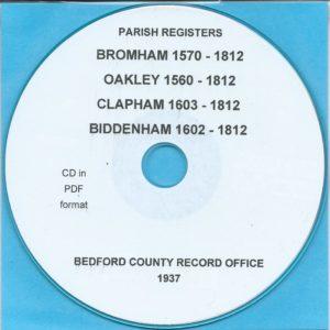Bromham, Oakley, Clapham & Biddenham, Bedfordshire, Parish Records[CD]