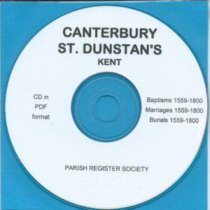 Canterbury, St. Dunstan's, Kent, Parish Records 1559 – 1800 [CD]