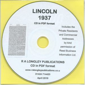 Lincoln Directory [Kelly's] 1937 CD